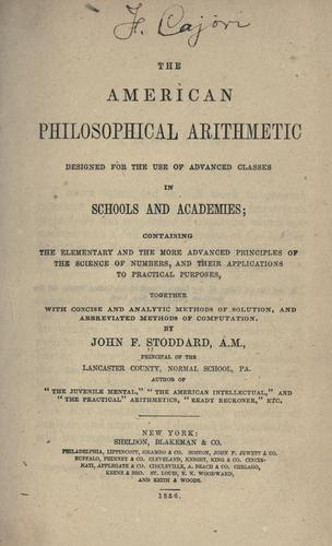The American philosophical arithmetic by John F. Stoddard