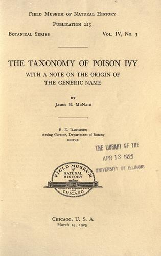 The taxonomy of poison ivy by McNair, James Birtley