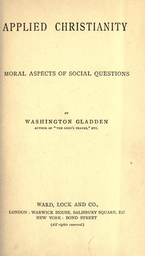 Applied Christianity by Washington Gladden