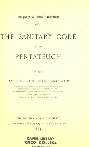 The sanitary code of the Pentateuch