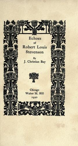 Echoes of Robert Louis Stevenson