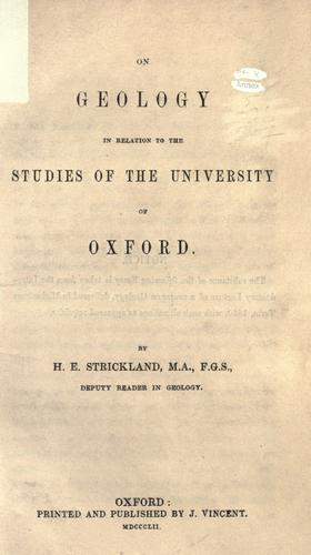 On geology in relation to the studies of the University of Oxford by