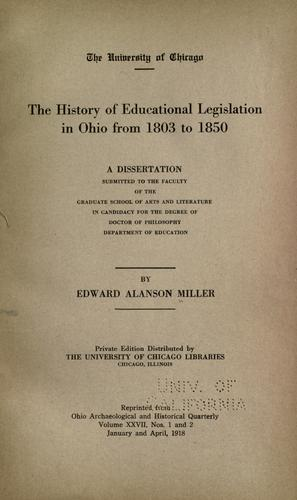 The history of educational legislation in Ohio from 1803 to 1850