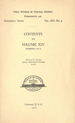 Contents [and index] to volume 14, numbers 1 to 3, Zoological series by Field Museum of Natural History.