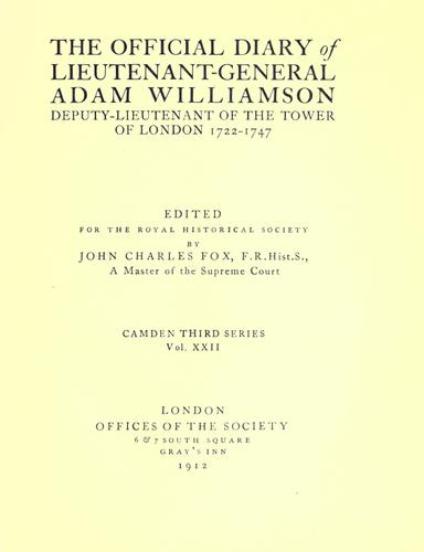 The official diary of Lieutenant-General Adam Williamson by Adam Williamson