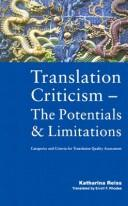 Translation criticism, the potentials and limitations by Katharina Reiss