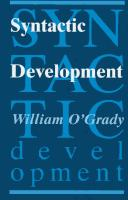 Syntactic development by William D. O'Grady